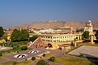 Aerial view of Jantar Mantar Observatory with City place in background ; Jaipur ; Rajasthan ; India