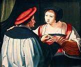 The engagement, 1527, by Lucas van Leyden (ca 1494- 1533).  Strasbourg, Musée Des Beaux-Arts
