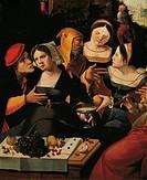 The Prodigal Son with courtesans, an allegory of the five senses, 16th century, Franco-Flemish painting, oil on panel, 89x130 cm. Detail.  Paris, Hôte...