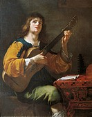 Portrait of the artist as a guitarist, 1636, by Jean Daret (1615-68), oil on canvas, 130x102 cm.  Aix-En-Provence, Musée Granet (Archaeological And Ar...