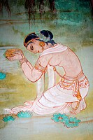 Mural painting of Buddha´s woman disciple in Sarnath ; Uttar Pradesh ; India