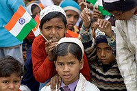 Muslim children with Indian flag on republic day 26th January in Varanasi , Uttar Pradesh , India