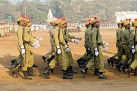 Policemen parade on 26th January at Dadar Shivaji Park ground ; Bombay Mumbai ; Maharashtra ; India