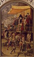 Saint Dominic presiding over an Auto-da-fe, by Pedro Berruguete (ca 1450-ca 1504).  Madrid, Museo Del Prado