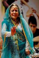 Kathak classical dancer Sitara Devi performs at Shanmukhananda Hall in Bombay now Mumbai , Maharashtra , India NO MR