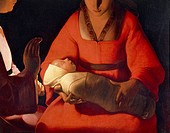The newborn, 1645-1648, by Georges de La Tour (1593-1652), oil on canvas, 76x91 cm. Detail.  Rennes, Musée Des Beaux-Arts (Picture Gallery)