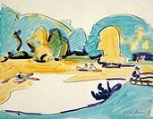 Park in Dresden, 1910, by Ernst Ludwig Kirchner (1880-1938).  Hanover, Sprengel Museum Hannover (Art Museum)