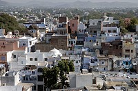 Bird eye view of Udaipur city ; Rajasthan ; India