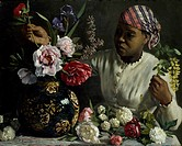 Negress with Peonies, 1870, by Frederic Bazille (1841-1870).  Montpellier, Musée Fabre (Picture Gallery)