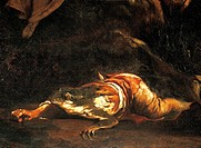 Pastors being transformed into frogs by Latona, by Giuseppe Maria Crespi (1665-1747), detail.  Bologna, Pinacoteca Nazionale Di Bologna (Art Gallery, ...