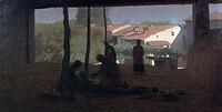 The barn, 1893, by Giuseppe Pelizza da Volpedo (1868-1907), oil on canvas, 133x243.5 cm.  Private Collection