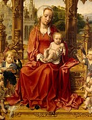 Madonna with Child and angel musicians, central panel of Malvern Triptych, 1511_1515, by Jan Gossaert circa 1472_1532, oil on panel, Detail