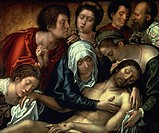 Lamentation over dead Christ, central panel of the Haneton Triptych, by Bernaert van Orley (ca 1492-1541), oil on canvas, 87x109 cm.  Brussels, Musées...