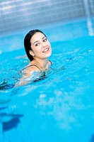 Woman in swimming baths