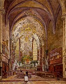 Interior of St Michael's Church (Michaelerkirche) in Vienna, Austria, 19th century, print.  Vienna, Historisches Museum Der Stadt Wien (History Museum...