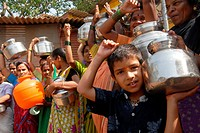 Women with their stainless steel water containers to protest against the acute water shortage in Bombay now Mumbai , Maharashtra , India