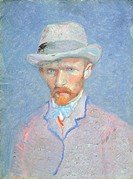 Self-Portrait with gray felt hat, 1887-1888, by Vincent van Gogh (1853-1890), oil on cardboard, 42x34 cm.  Amsterdam, Van Gogh Museum