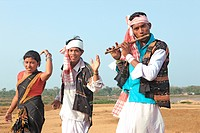 People celebrating Bihu festival New Year celebration , Assam , India NO MR