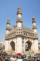 Charminar built by Mohammed quli qutb shah in 1591 standing 56 meter High and 30 meter wide ; ; Andhra Pradesh ; India