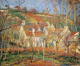 The red roofs, or Corner of a village, Winter, 1877, by Camille Pissarro (1831-1903).  Paris, Musée D'Orsay (Art Gallery)