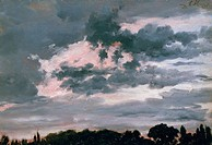 Study of clouds Wolkenstudie, 1851, by Adolph Menzel 1815_1905, oil on canvas, 40x28 cm.