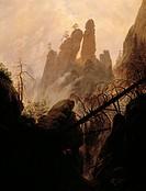 Rocky Ravine, by Caspar David Friedrich (1774-1840).  Vienna, Kunsthistorisches Museum (Museum Of Fine Arts)