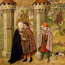 The Meeting of Joachim and Anne outside the Golden Gate at Jerusalem, by Jaume Huguet (1412-1492).  Bilbao, Museo De Bellas Artes De Bilbao (Art Museu...