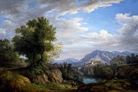 Landscape, by Pietro Ronzoni (1781-1861), oil on canvas, 153x109 cm.  Pavia, Musei Civici Del Castello Visconteo, Pinacoteca Malaspina (Art Gallery)