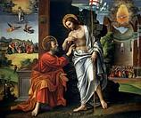 Christ and Doubting Thomas, by Paolo Cavazzola (1486-1522).  Verona, Castelvecchio (Art Museum)