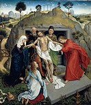 Deposition of Christ in the tomb, ca 1450, by Rogier van der Weyden (1399-1464), oil on canvas, 111x95 cm.  Florence, Galleria Degli Uffizi (Uffizi Ga...