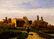 Morning in May, 1869, by Guglielmo Ciardi (1842-1917), oil on canvas, 57x78 cm.  Venice, Galleria Internazionale D'Arte Moderna Di Ca' Pesaro (Art Mus...