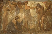 The horses of the sun, 1907, by Adolfo De Carolis (1874-1928), central panel of the triptych, oil on canvas.  Ascoli Piceno, Pinacoteca Civica (Art Mu...