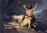 Adam and Eve mourn over Abel´s body, by Carlo Zatti 1809_1899, oil on canvas, 164x231.5 cm.