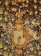 Charles the Bold's coat of arms, detail from a tapestry of wildflowers. Heraldry, France, 15th century.  Bern, Bernisches Historisches Museum (Art Mus...