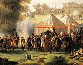 Napoleon's encampment at Abersberg Castle, May 4, 1809, by Pierre Antoine Mongin (1761 or 1762-1827), oil on canvas, 135x203 cm. Detail. Napoleonic Wa...