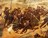 Battle of Pastrengo, April 30, 1848, by Vincenzo Giacomelli (1841-1890).Detail. First War of Independence, Italy, 19th century.  Turin, Museo Nazional...