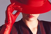 Woman in red hat and gloves ; New York ; United States of America U.S.A. MR18