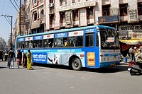 Public transport Kinglong bus used for city services at Indore , Madhya Pradesh , India