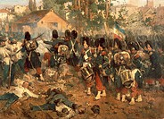 Battle of Magenta, June 4, 1859, by Jerome Induno (1827-1890), 1861, oil on canvas, 208x364 cm. Detail. Second War of Independence, Italy, 19th centur...
