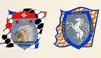 Coats of arms for the Palio of Siena for the Istrice (Crested Porcupine) soverign contrada and Leocorno (Unicorn) nobile (noble) contrade. Heraldry, I...
