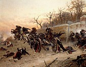 The retreat of the French artillery, detail from the Battle of Buzenval, defence of Longboyau's gate, chateau of Buzenval, October 21, 1870, by Alphon...