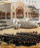 President of the Second French Republic, Napoleon III, distributing the Eagle's standards in front of the Military School in Paris May 10, 1852. Detai...