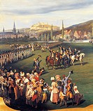 The Duke of Chartres, future King Louis Philippe, receiving the command of 14 Regiment of Dragoons in Vendome, 1848, detail from a painting by Joseph ...