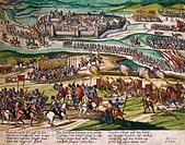 The Prince of Parma conquers Neuchatel, 3 February, 1592, engraving by Franz Hogenberg (1535-1590). Switzerland, 16th century.  Geneva, Bibliothèque P...