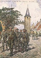 Flanders front, gate of Loo, by Jean Lefort (1875-1954), watercolour. World War I, Belgium 20th century.  Paris, Musée De L'Armée (Army Museum)