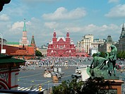Russia, Moscow, Red Square, State History Museum and Resurrection Gate