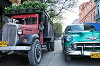 Havana  Cuba  Habana Vieja / Old Havana  Vintage truck loaded with plantains