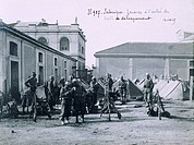 After landing in Salonika, the French Zouaves reach the supply camp, October 12, 1915. Before World War II, Greece, 20th century.  Paris, Musée D'Hist...