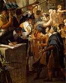 The enlistment of the volunteers or The country in danger, detail from a painting by Guillon Lethiere (1762-1832) depicting a scene from the French Re...
