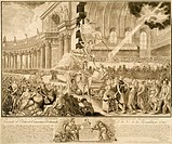 Allegory of Protestants Grateful to the French Nation, engraving by Duplessis. French Revolution, France, 18th century.  Vizille, Château (Castle), Mu...